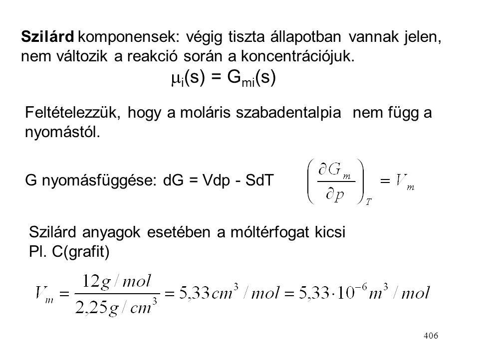 Szilárd komponensek: végig tiszta állapotban vannak jelen, nem változik a reakció során a koncentrációjuk. mi(s) = Gmi(s)