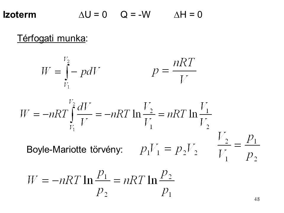 Izoterm DU = 0 Q = -W DH = 0 Térfogati munka: Boyle-Mariotte törvény: