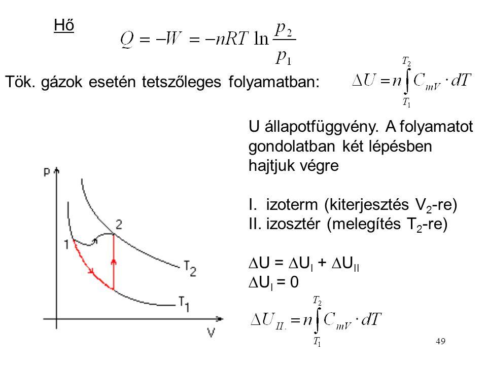 Hő Tök. gázok esetén tetszőleges folyamatban: U állapotfüggvény. A folyamatot gondolatban két lépésben hajtjuk végre.