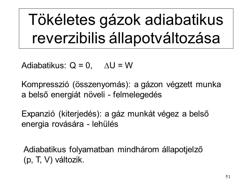 Tökéletes gázok adiabatikus reverzibilis állapotváltozása