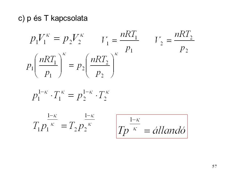 c) p és T kapcsolata