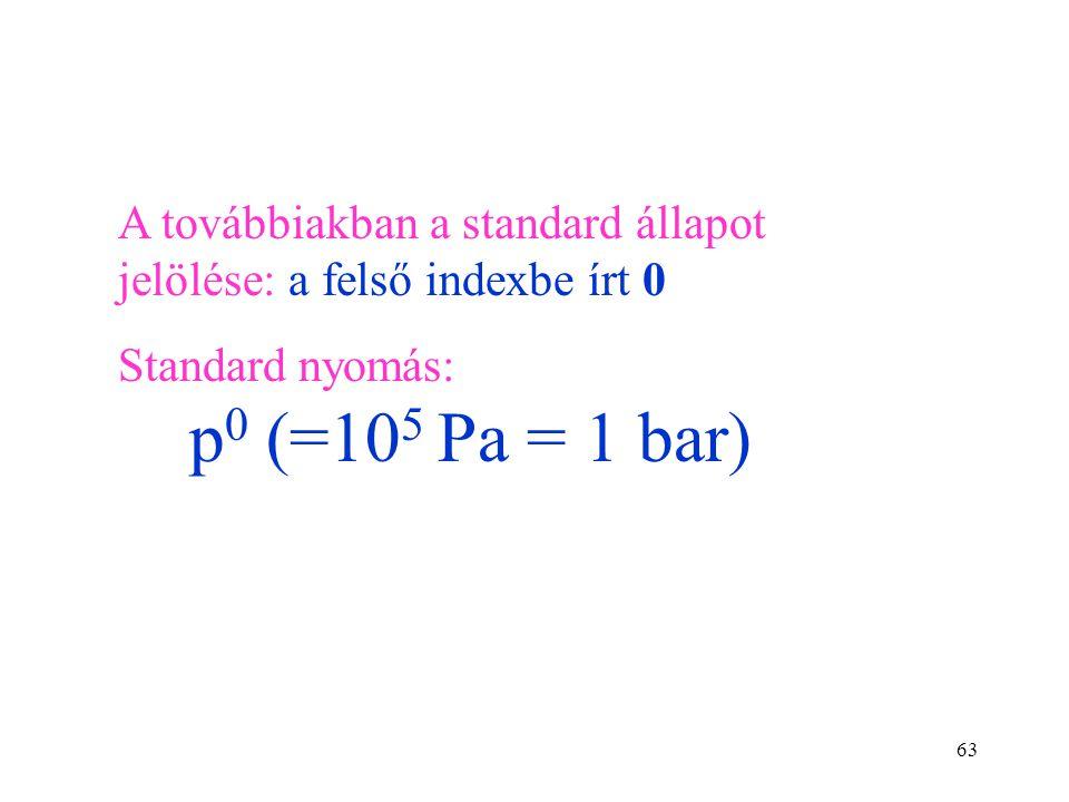 A továbbiakban a standard állapot jelölése: a felső indexbe írt 0