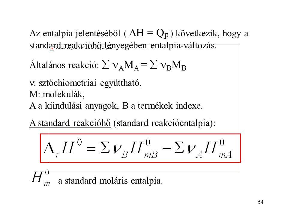 Az entalpia jelentéséből ( DH = Qp ) következik, hogy a standard reakcióhő lényegében entalpia-változás.