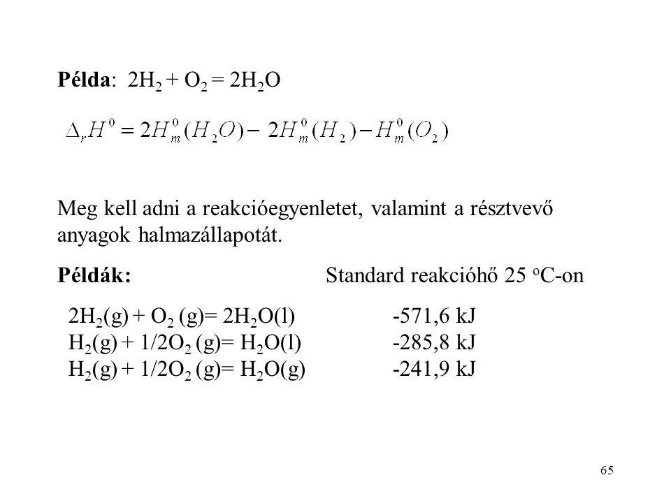 Példa: 2H2 + O2 = 2H2O Meg kell adni a reakcióegyenletet, valamint a résztvevő anyagok halmazállapotát.