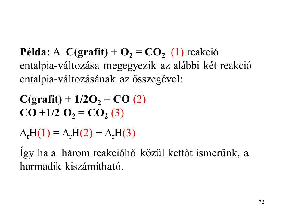 Példa: A C(grafit) + O2 = CO2 (1) reakció entalpia-változása megegyezik az alábbi két reakció entalpia-változásának az összegével: