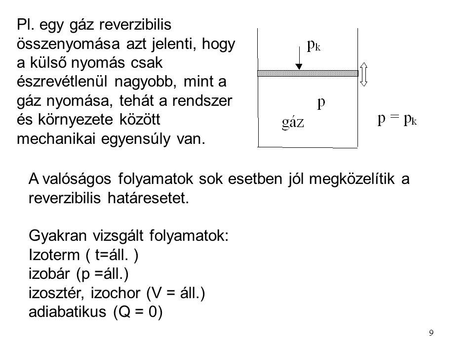 Pl. egy gáz reverzibilis összenyomása azt jelenti, hogy a külső nyomás csak észrevétlenül nagyobb, mint a gáz nyomása, tehát a rendszer és környezete között mechanikai egyensúly van.