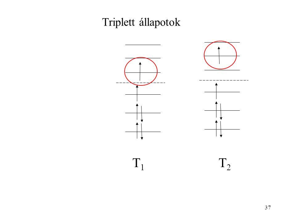 Triplett állapotok T1 T2