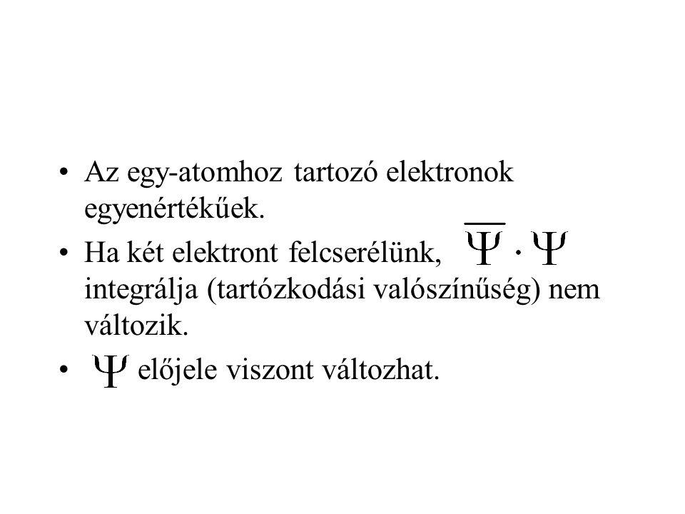Az egy-atomhoz tartozó elektronok egyenértékűek.