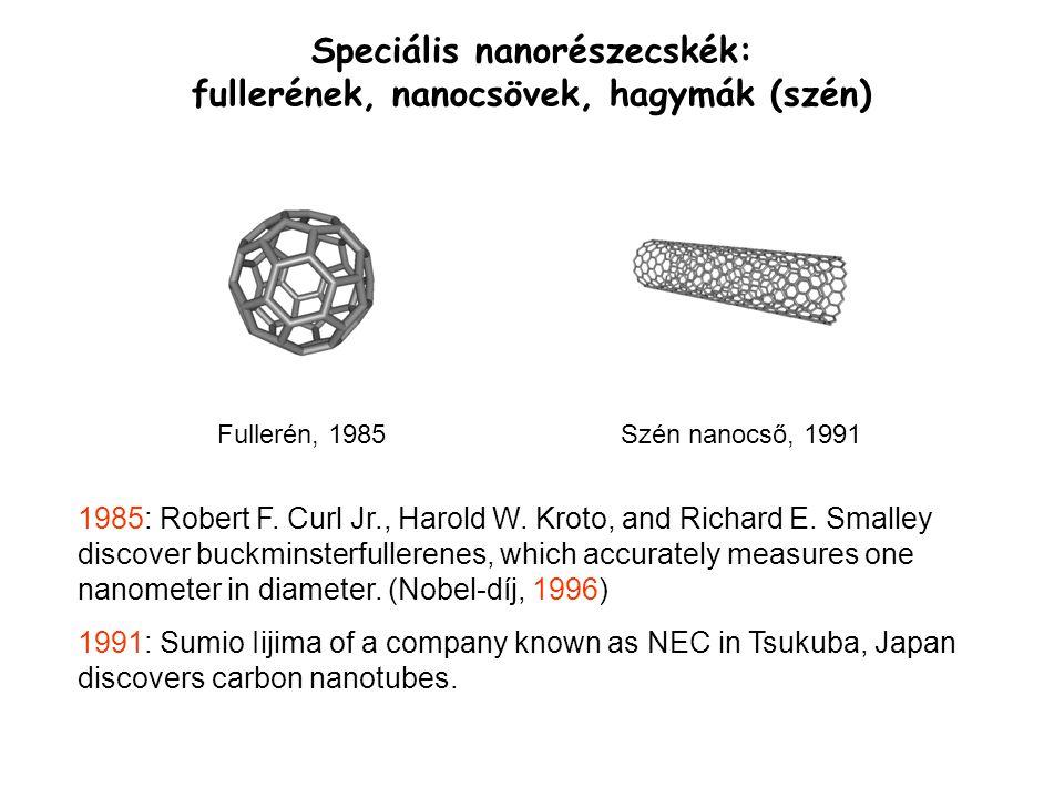 Speciális nanorészecskék: fullerének, nanocsövek, hagymák (szén)