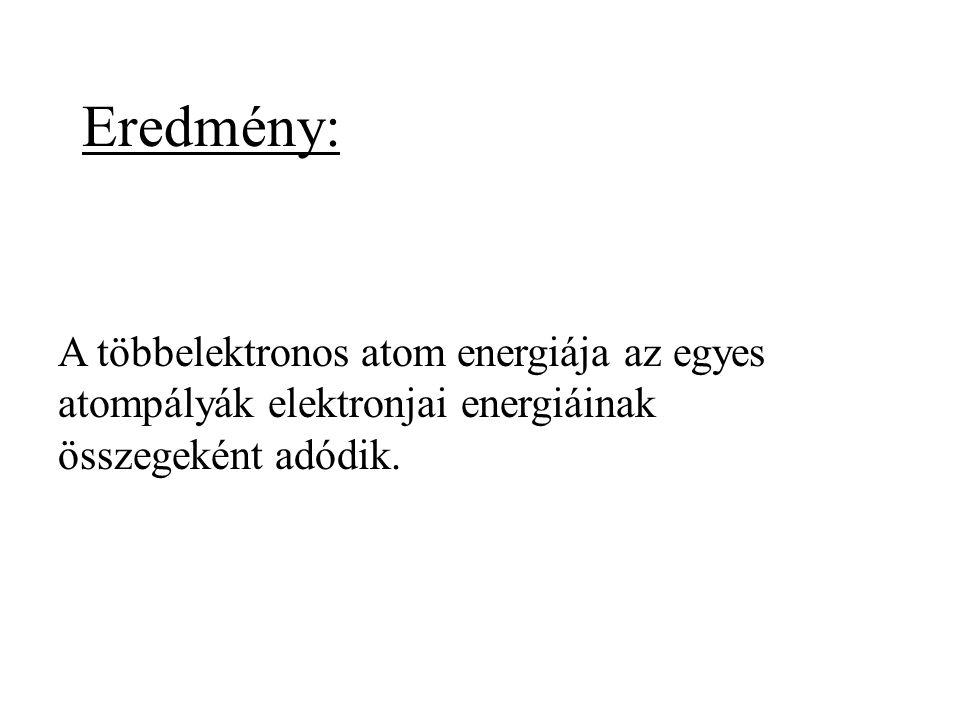 Eredmény: A többelektronos atom energiája az egyes atompályák elektronjai energiáinak összegeként adódik.