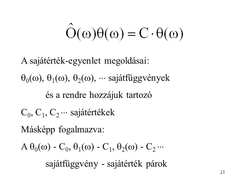 A sajátérték-egyenlet megoldásai: