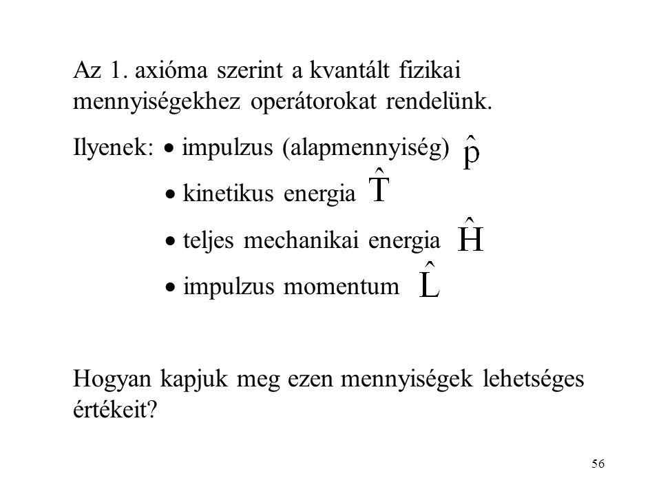 Az 1. axióma szerint a kvantált fizikai mennyiségekhez operátorokat rendelünk.