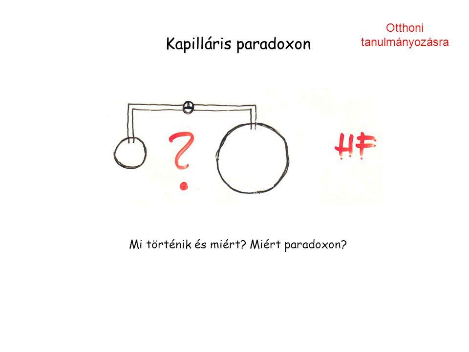 Kapilláris paradoxon Otthoni tanulmányozásra