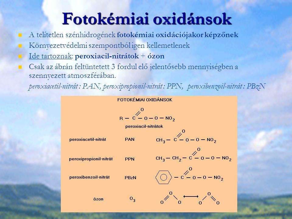 Fotokémiai oxidánsok A telítetlen szénhidrogének fotokémiai oxidációjakor képzőnek. Környezetvédelmi szempontból igen kellemetlenek.