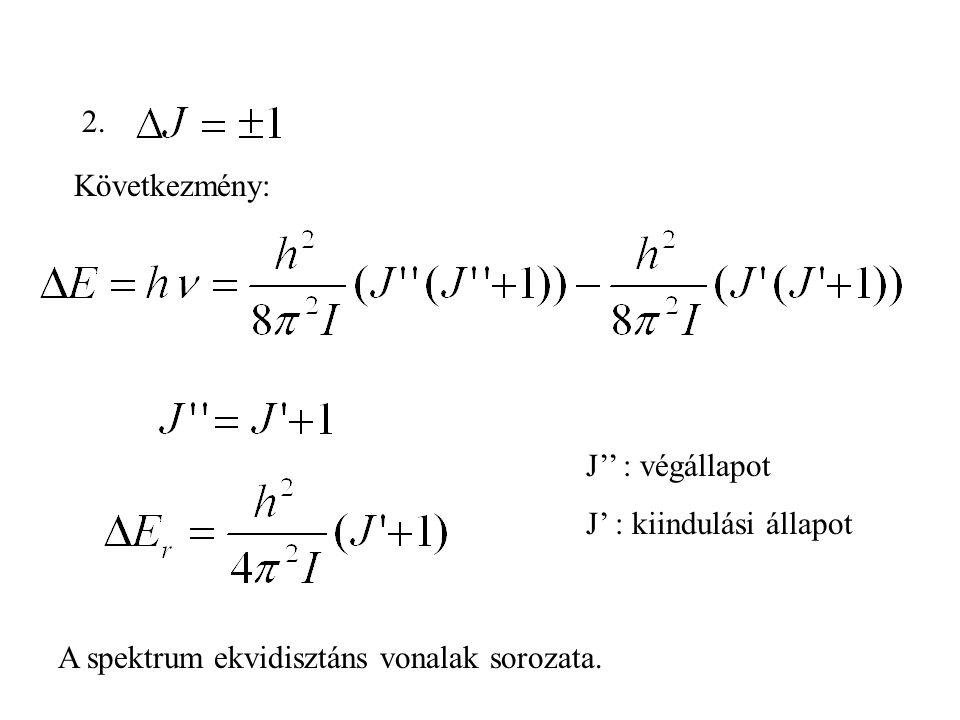 2. Következmény: J'' : végállapot J' : kiindulási állapot A spektrum ekvidisztáns vonalak sorozata.