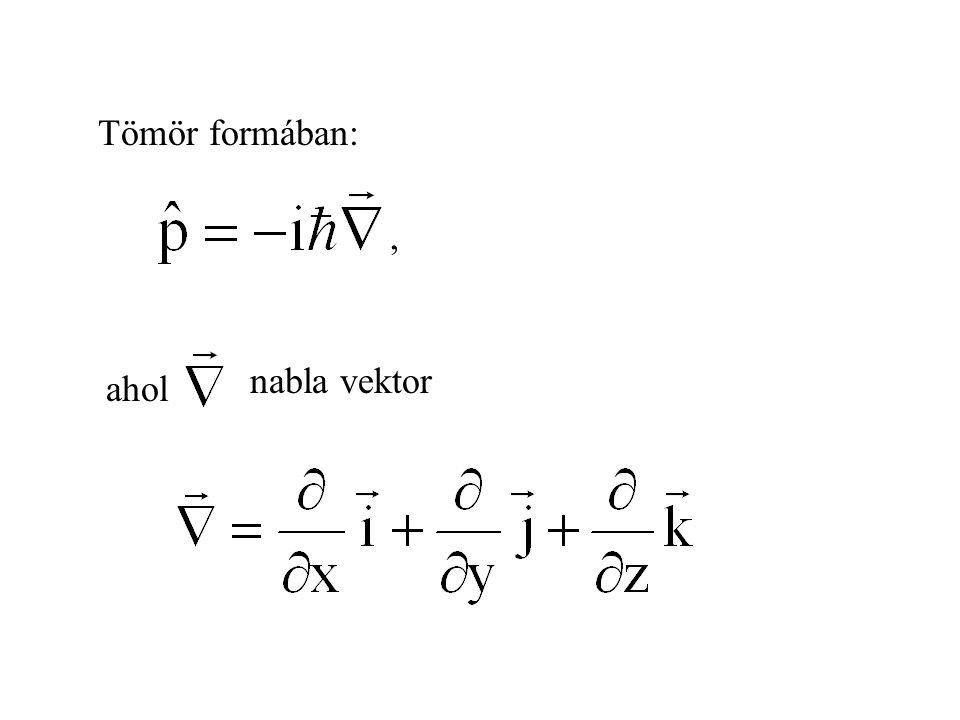 Tömör formában: , nabla vektor ahol