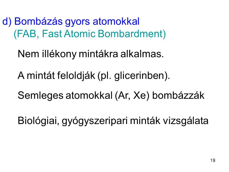 d) Bombázás gyors atomokkal (FAB, Fast Atomic Bombardment)