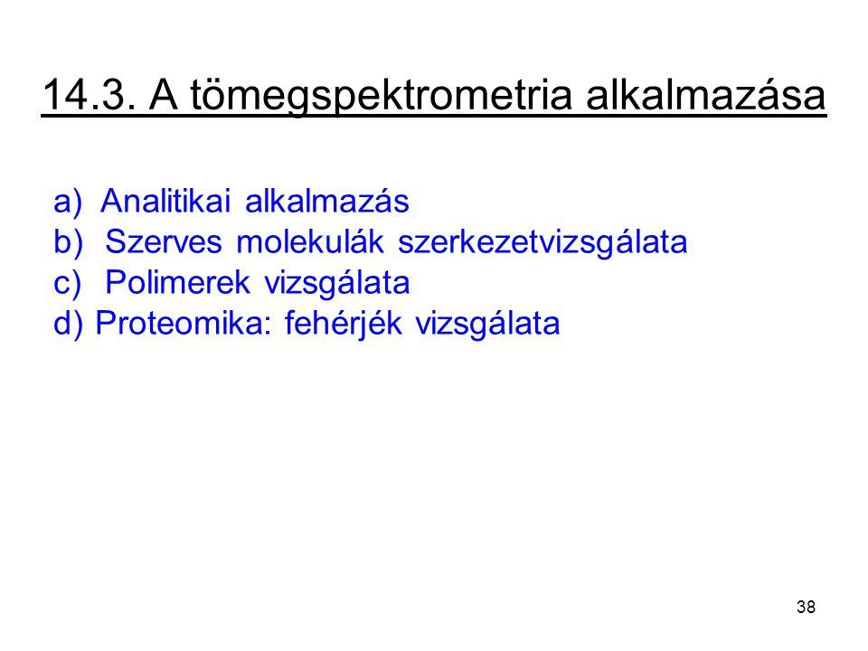 14.3. A tömegspektrometria alkalmazása