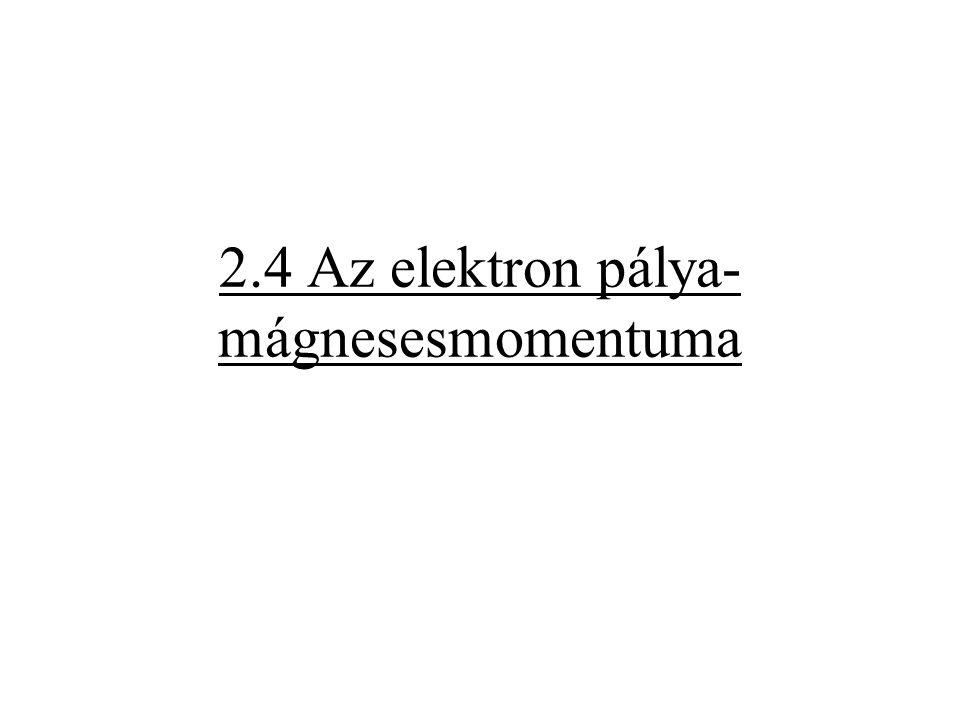 2.4 Az elektron pálya-mágnesesmomentuma
