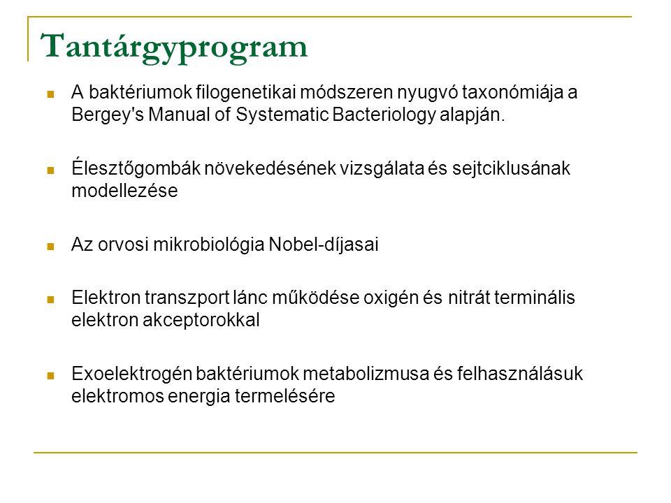 Tantárgyprogram A baktériumok filogenetikai módszeren nyugvó taxonómiája a Bergey s Manual of Systematic Bacteriology alapján.
