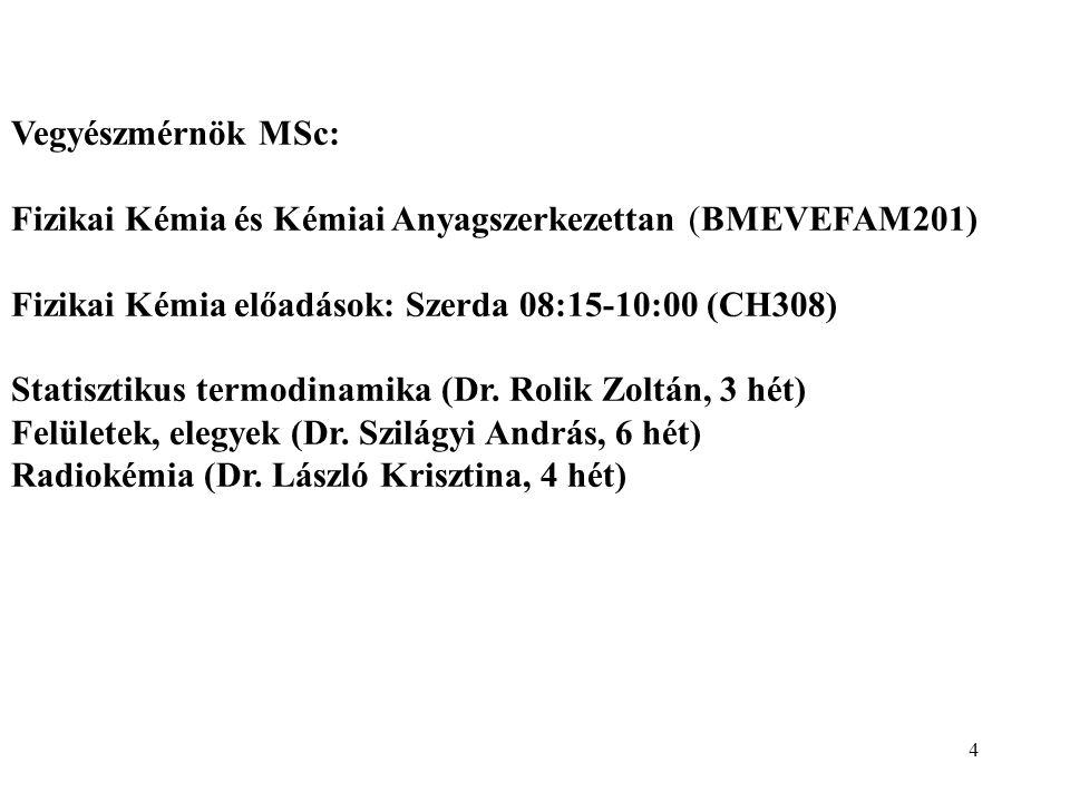 Vegyészmérnök MSc: Fizikai Kémia és Kémiai Anyagszerkezettan (BMEVEFAM201) Fizikai Kémia előadások: Szerda 08:15-10:00 (CH308)