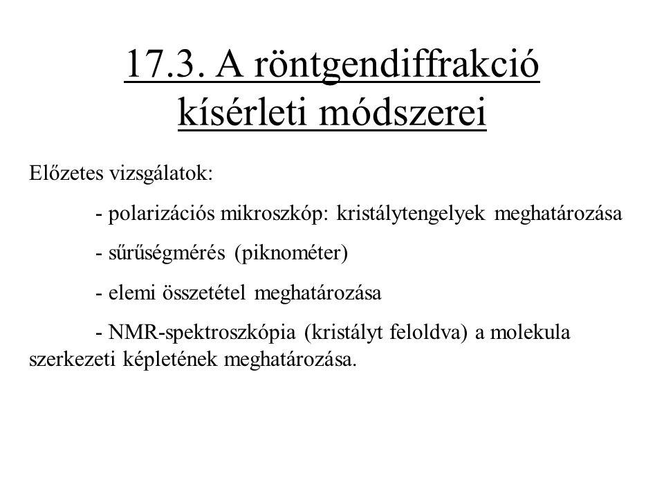 17.3. A röntgendiffrakció kísérleti módszerei