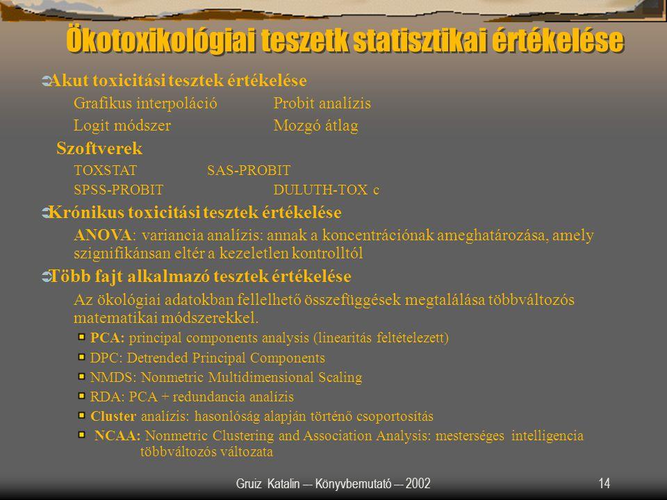 Ökotoxikológiai teszetk statisztikai értékelése