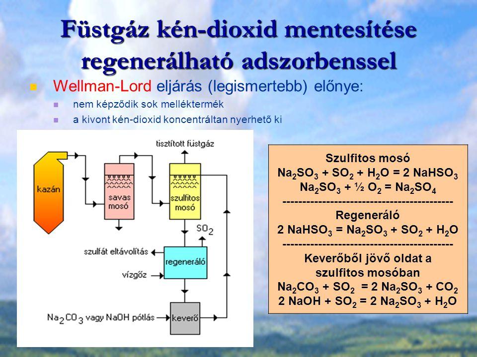 Füstgáz kén-dioxid mentesítése regenerálható adszorbenssel