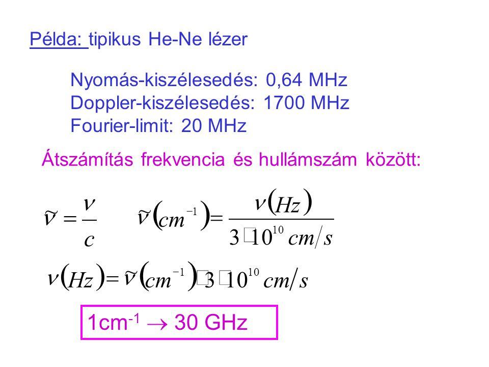 ( ) n ~ = c s cm Hz 3 × 1cm-1  30 GHz Példa: tipikus He-Ne lézer