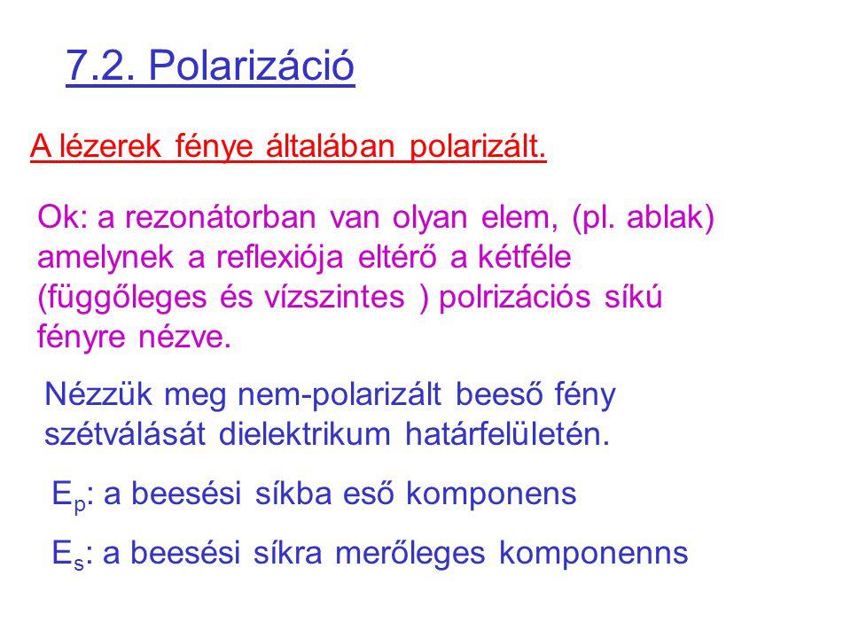7.2. Polarizáció A lézerek fénye általában polarizált.
