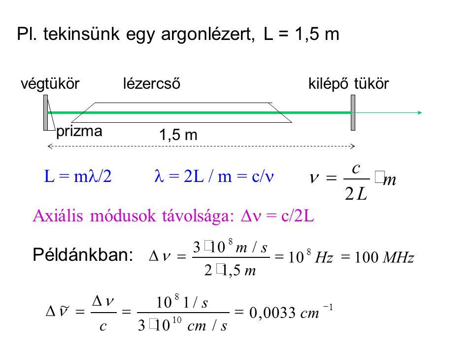 m L c × = 2 n Pl. tekinsünk egy argonlézert, L = 1,5 m L = ml/2