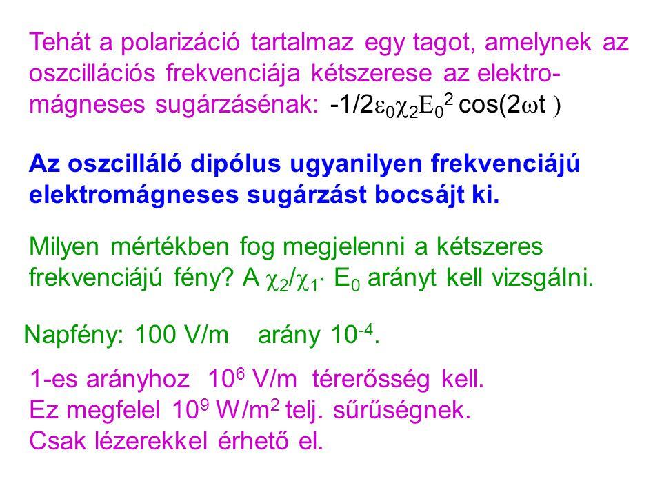 Tehát a polarizáció tartalmaz egy tagot, amelynek az oszcillációs frekvenciája kétszerese az elektro-mágneses sugárzásénak: -1/2e0c2E02 cos(2t )