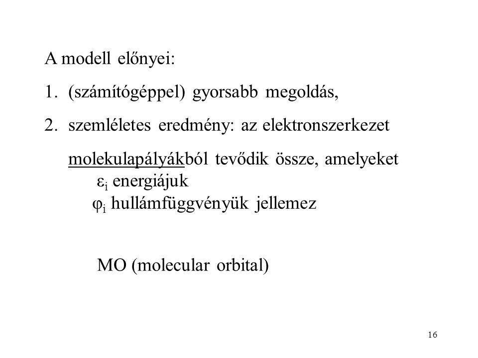 A modell előnyei: (számítógéppel) gyorsabb megoldás, szemléletes eredmény: az elektronszerkezet. molekulapályákból tevődik össze, amelyeket.