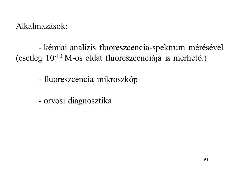 Alkalmazások: - kémiai analízis fluoreszcencia-spektrum mérésével. (esetleg 10-10 M-os oldat fluoreszcenciája is mérhető.)