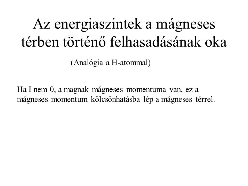 Az energiaszintek a mágneses térben történő felhasadásának oka