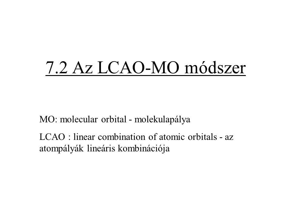 7.2 Az LCAO-MO módszer MO: molecular orbital - molekulapálya