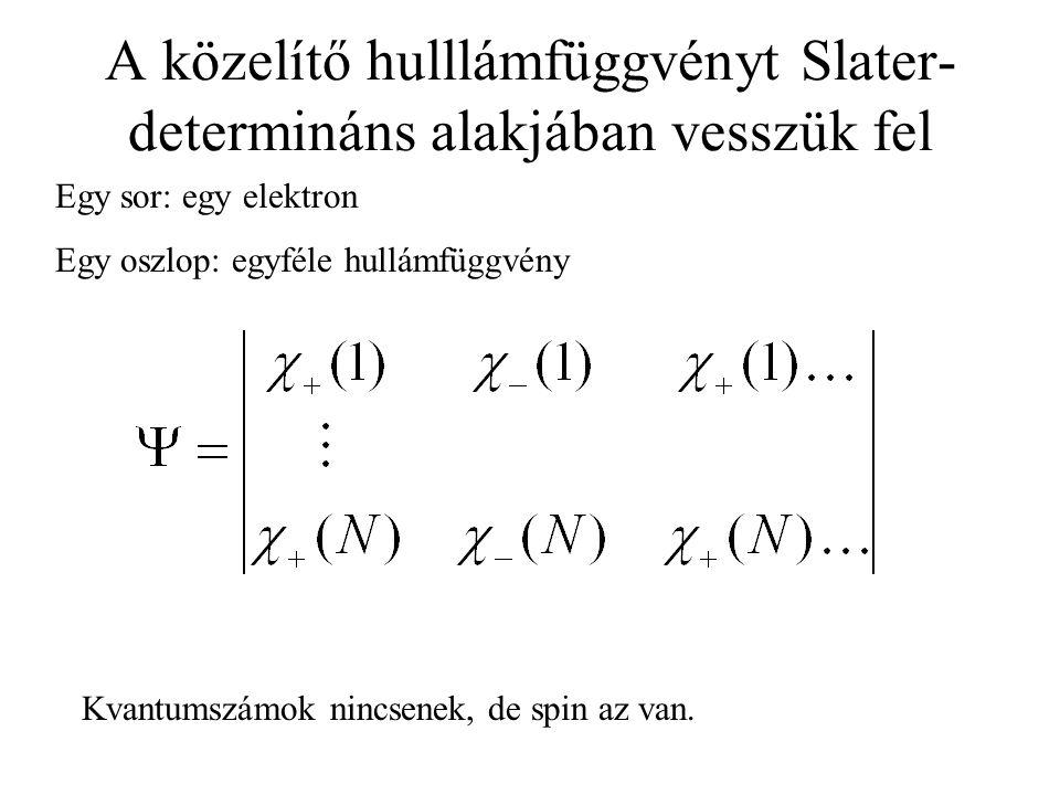 A közelítő hulllámfüggvényt Slater-determináns alakjában vesszük fel