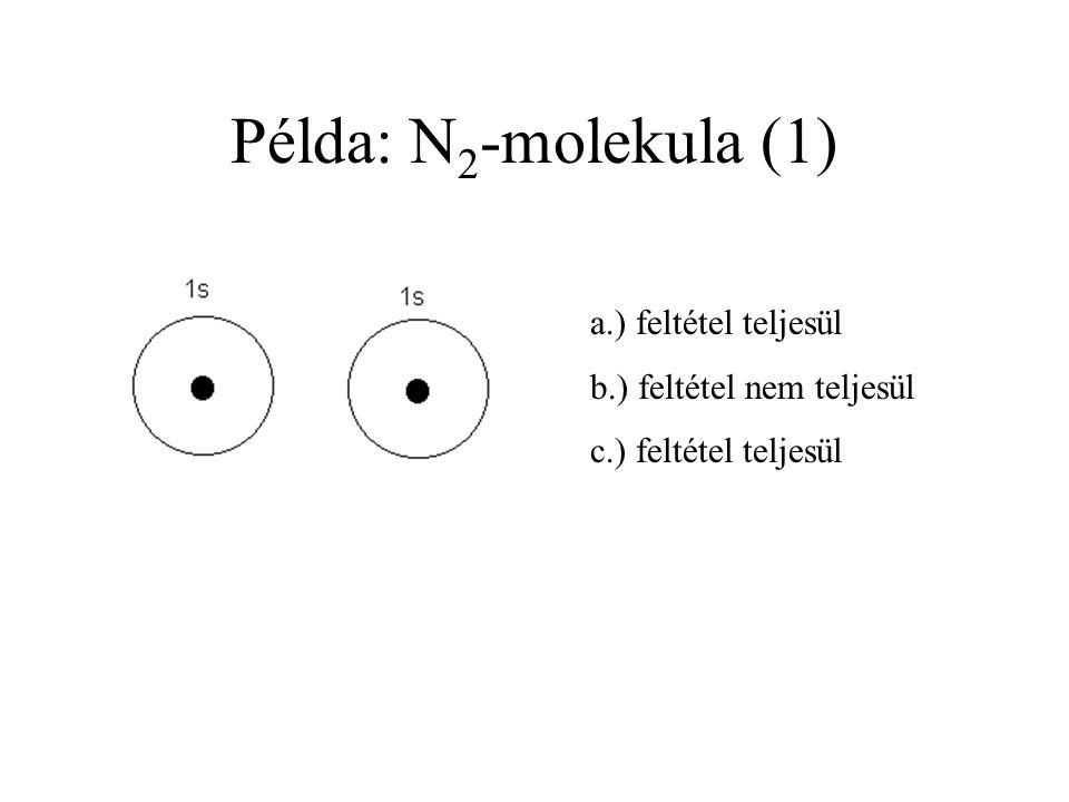 Példa: N2-molekula (1) a.) feltétel teljesül b.) feltétel nem teljesül
