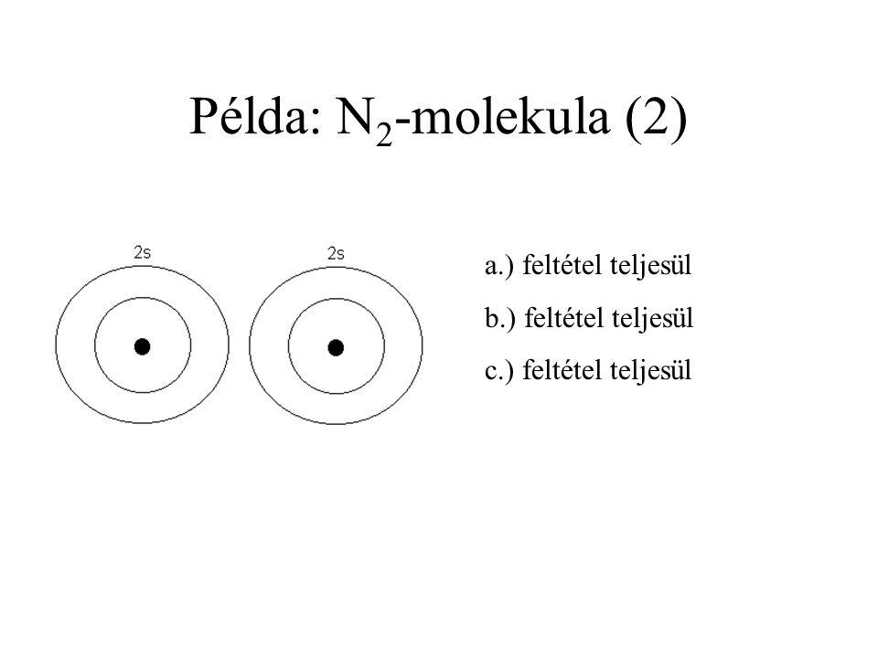 Példa: N2-molekula (2) a.) feltétel teljesül b.) feltétel teljesül