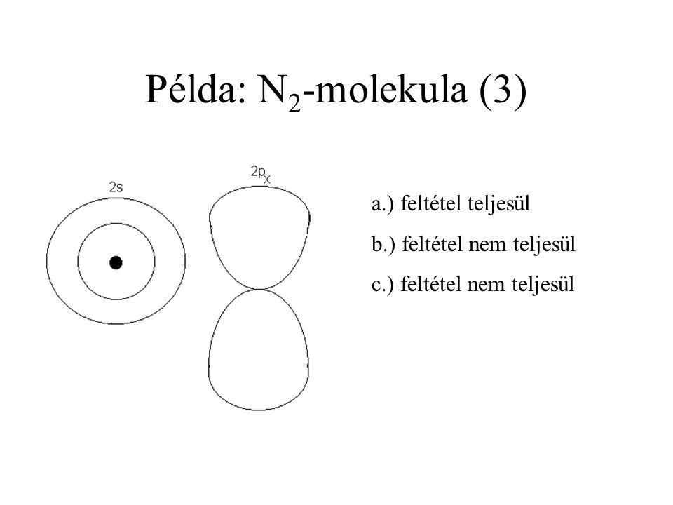 Példa: N2-molekula (3) a.) feltétel teljesül b.) feltétel nem teljesül
