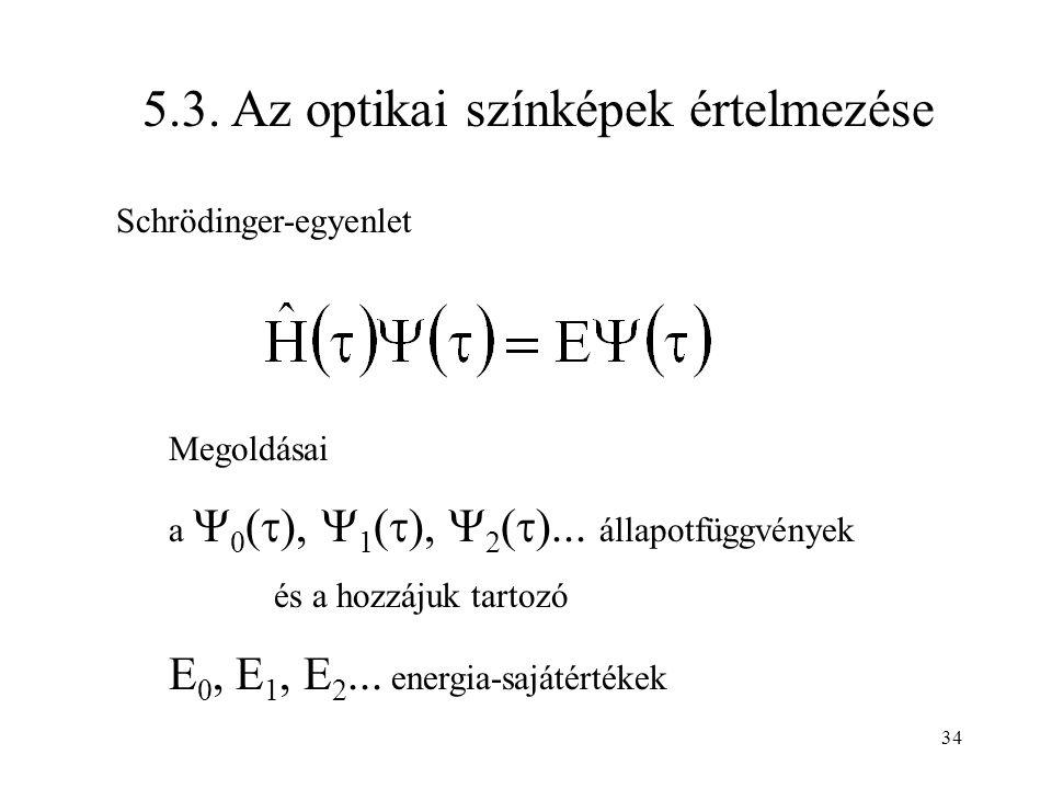 5.3. Az optikai színképek értelmezése