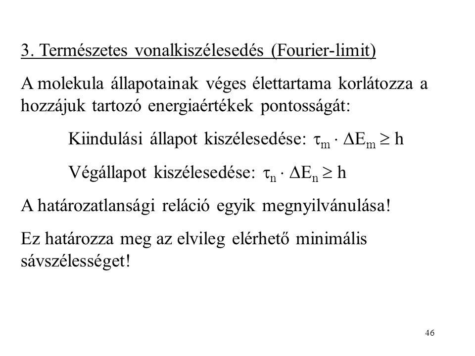 3. Természetes vonalkiszélesedés (Fourier-limit)