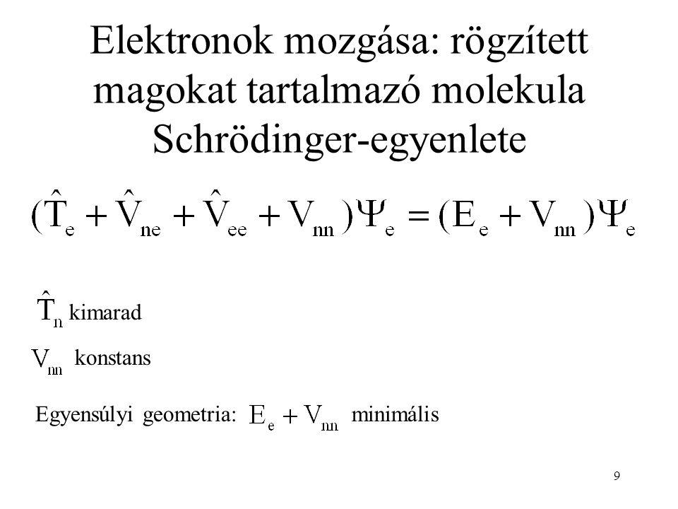 Elektronok mozgása: rögzített magokat tartalmazó molekula Schrödinger-egyenlete