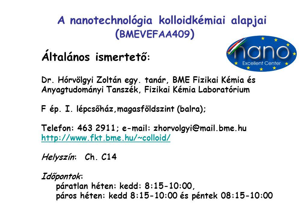 A nanotechnológia kolloidkémiai alapjai (BMEVEFAA409)