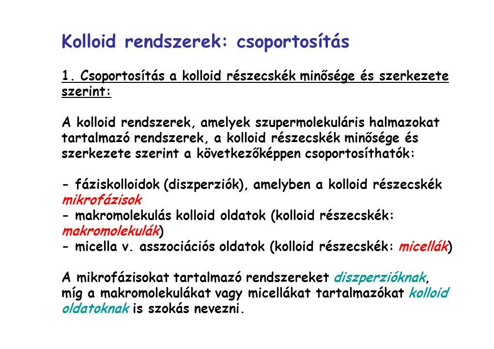 Kolloid rendszerek: csoportosítás