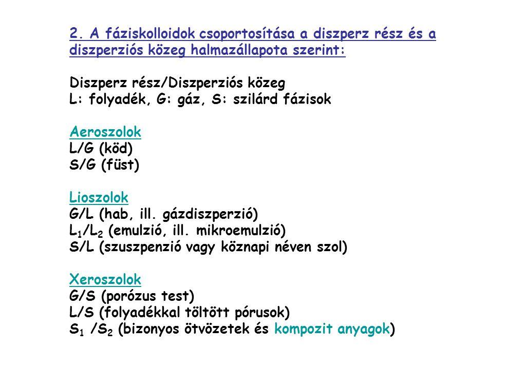 2. A fáziskolloidok csoportosítása a diszperz rész és a diszperziós közeg halmazállapota szerint: