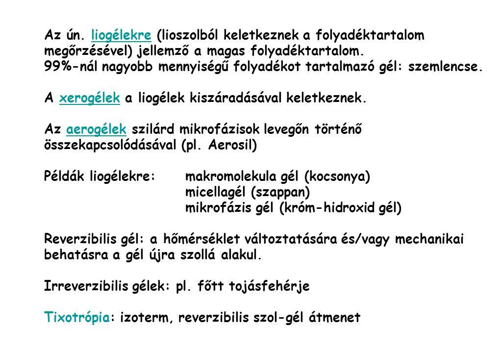 Az ún. liogélekre (lioszolból keletkeznek a folyadéktartalom megőrzésével) jellemző a magas folyadéktartalom.