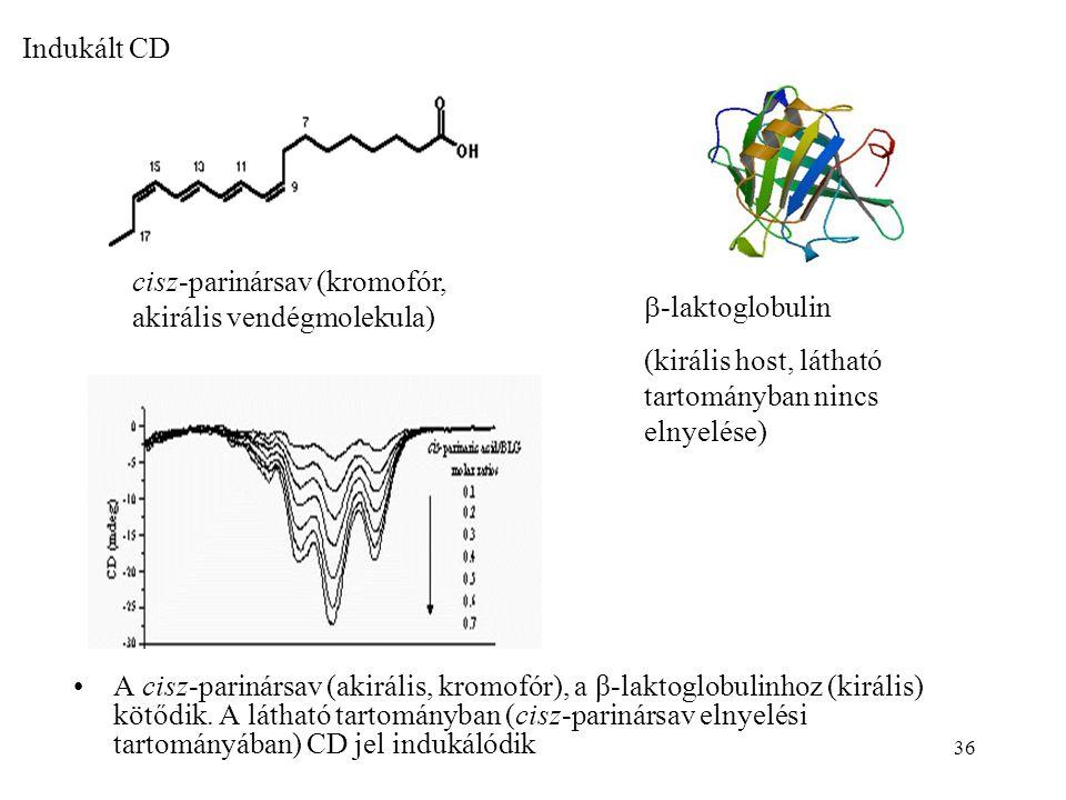 Indukált CD cisz-parinársav (kromofór, akirális vendégmolekula) -laktoglobulin. (királis host, látható tartományban nincs elnyelése)