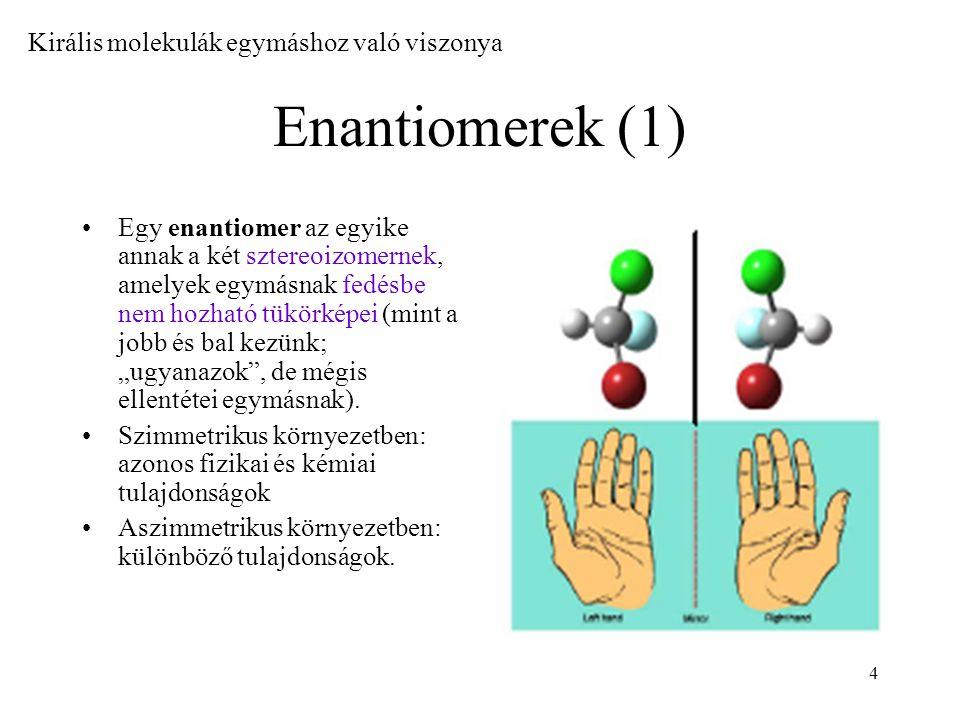 Enantiomerek (1) Királis molekulák egymáshoz való viszonya