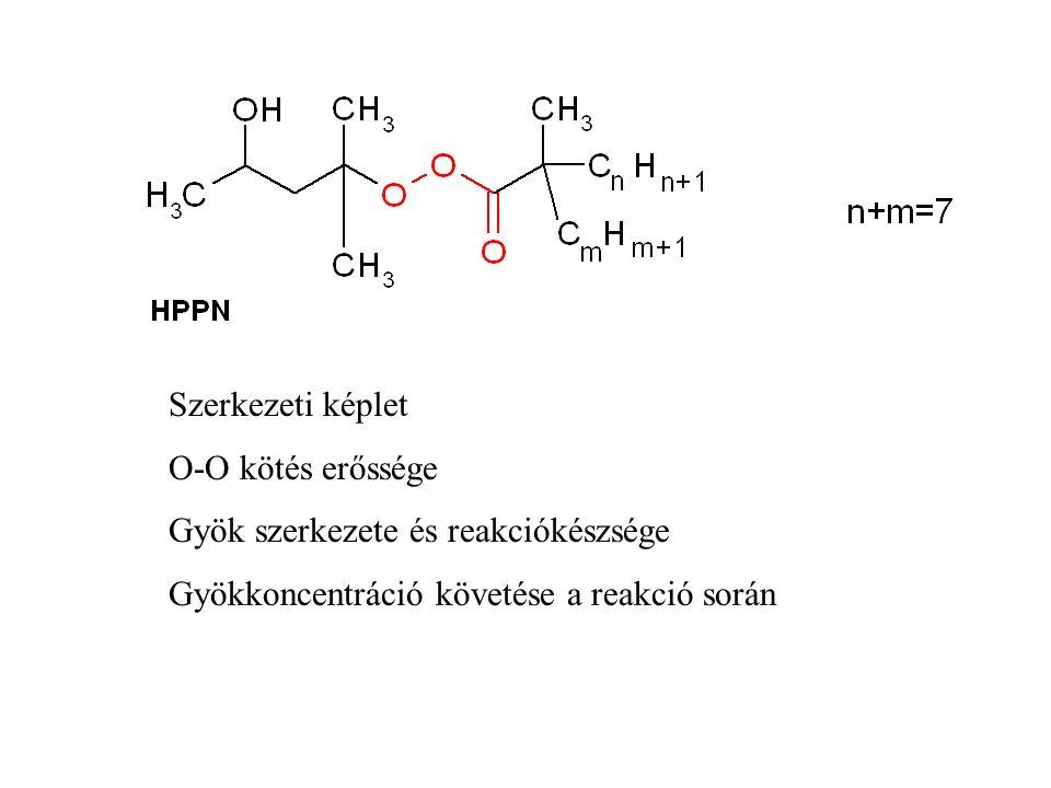 Szerkezeti képlet O-O kötés erőssége. Gyök szerkezete és reakciókészsége.